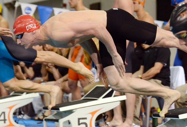 Tom Paco-Pedroni starts the 50 meter freestyle at the 2014 NCAA Championships. (Courtesy)