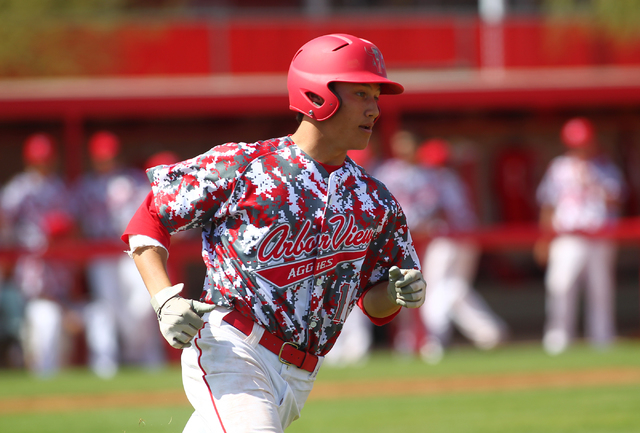 Arbor View's Nick Quintana runs for first base against Faith Lutheran on Saturday. Arbor View won, 6-2. (Chase Stevens/Las Vegas Review-Journal)