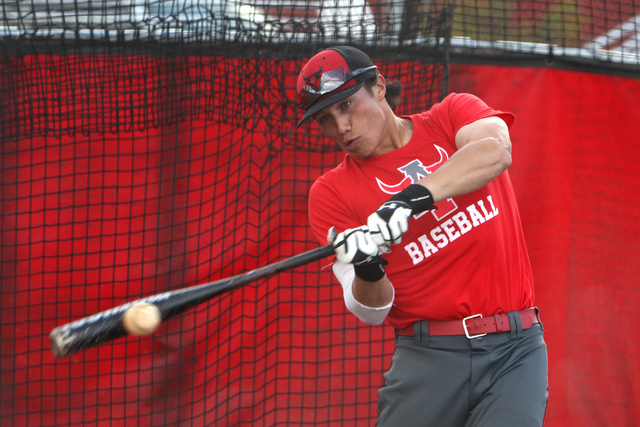 Arbor View short stop Nick Quintana connects with a pitch during batting practice Tuesday, March 3, 2015. (Sam Morris/Las Vegas Review-Journal)