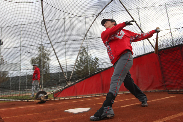 Arbor View short stop Nick Quintana follows through during batting practice Tuesday, March 3, 2015. (Sam Morris/Las Vegas Review-Journal)