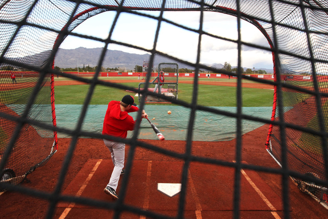 Arbor View's Blake Sieck hits during practice Tuesday, March 3, 2015. (Sam Morris/Las Vegas Review-Journal)