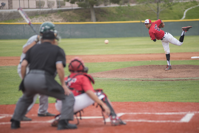 Las Vegas High School's Jaime Solis (22) pitches against Rancho High School during their baseball game played at Las Vegas High School on Wednesday, March 11, 2015. (Martin S. Fuentes/Las Vegas Re ...