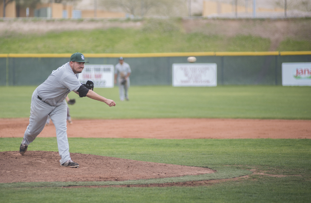 Rancho High School's Andrew Weiger (36) pitches against Las Vegas High School during their baseball game played at the Las Vegas High School on Wednesday March 11, 2015. (Martin S. Fuentes/Las Veg ...