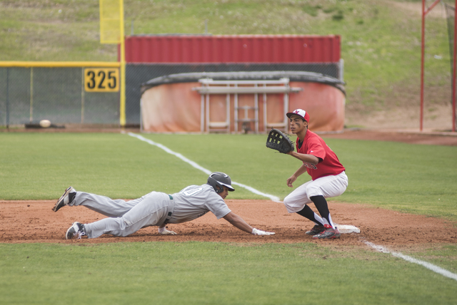Rancho High School's Angel Walker (10) dives back to first bast as Las Vegas High School's Ryan Freimuth (6) waits for the throw during their baseball game played at the Las Vegas High School on W ...