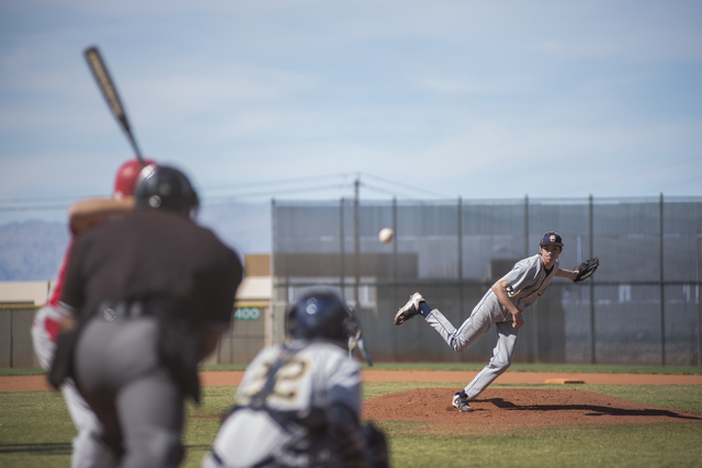 Boulder City's Steve Wagner (9) pitches against Tech during their baseball game played at the Burkholder Park baseball field in Henderson, Nev., on Thursday March 26, 2015. (Martin S. Fuentes/Las  ...