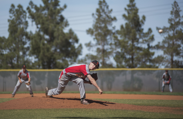 Tech's Sebastian Fitzgerald (6) pitches against Boulder City during their baseball game played at the Burkholder Park baseball field in Henderson, Nev., on Thursday March 26, 2015. (Martin S. Fuen ...