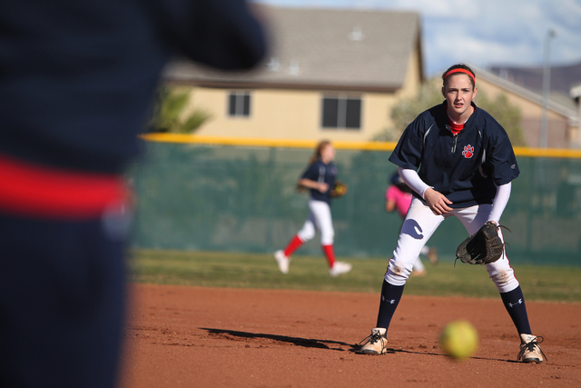 Sarah Pinkston, 16, pitcher for Coronado's varsity softball team, gets ready to catch the ball at first base during a team practice at the Coronado High School softball field in Henderson, Nev., M ...