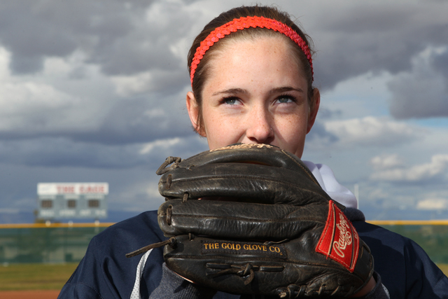 Sarah Pinkston, 16, pitcher for Coronado's varsity softball team, poses for a portrait at the Coronado High School softball field in Henderson, Nev., Monday, March 2, 2105. Pinkston, who pitched a ...