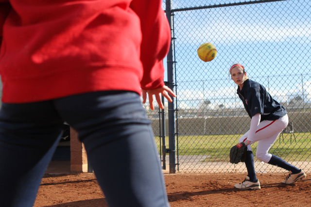 Sarah Pinkston, 16, pitcher for Coronado's varsity softball team, gets ready to catch the ball during a team practice at the Coronado High School softball field in Henderson, Nev., Monday, March 2 ...
