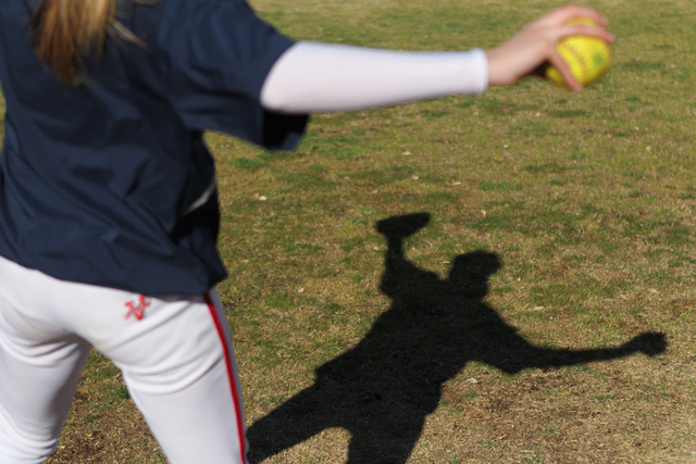 Sarah Pinkston, 16, pitcher for Coronado's varsity softball team, gets ready to throw the ball during a team practice at the Coronado High School softball field in Henderson, Nev., Monday, March 2 ...