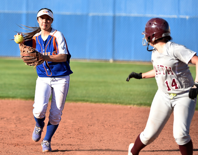 Bishop Gorman's Sierra Dias, left, runs down Faith Lutheran's Claire Peck during a high school softball game at Bishop Gorman High School on Monday, March 9, 2015, in Las Vegas. (David Becker/Las  ...