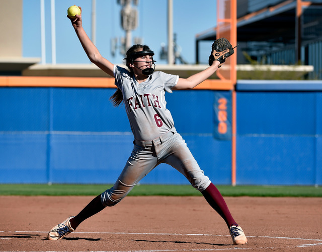 Faith Lutheran pitcher Makena Martin fires off a ball against Bishop Gorman during a high school softball game at Bishop Gorman High School on Monday, March 9, 2015, in Las Vegas. (David Becker/La ...