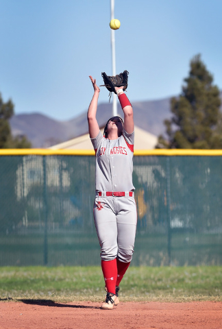 Arbor View second baseman Kellie Anderson looks to catch a pop up against Liberty during a high school softball game at Liberty High School on Tuesday, March 24, 2015, in Henderson. Arbor View won ...