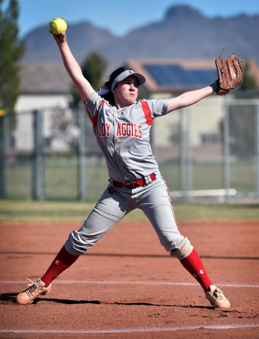 Arbor View pitcher Breanne Henricksen fires the ball against Liberty during a high school softball game at Liberty High School on Tuesday, March 24, 2015, in Henderson. Arbor View won 13-2. (David ...