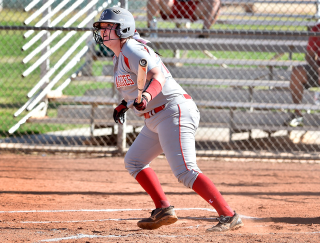 Arbor View's Marissa Bachman watches her hit during a high school softball game against Liberty at Liberty High School on Tuesday, March 24, 2015, in Henderson. Arbor View won 13-2. (David Becker/ ...