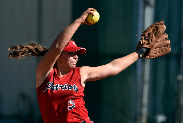 Liberty pitcher Breanna Alvarez fires the ball against Arbor View during a high school softball game against Liberty at Liberty High School on Tuesday, March 24, 2015, in Henderson. Arbor View won ...