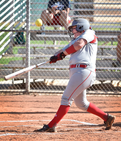 Arbor View's Marissa Bachman connects with the ball during a high school softball game against Liberty at Liberty High School on Tuesday, March 24, 2015, in Henderson. Arbor View won 13-2. (David  ...