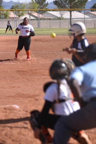 Chaparrel's Losi Brown (49) pitches against Cheyenne during their softball game played at Cheyenne's softball field in Las Vegas on Saturday, Mar. 21, 2015. (Martin S. Fuentes/Las Vegas Review-Jou ...