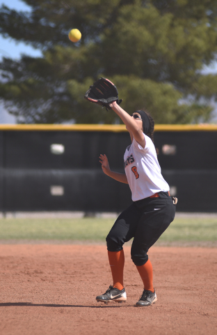 Chaparrel's Sara Living (8) catches the ball for an out against Cheyenne during their softball game played at Cheyenne's softball field in Las Vegas on Saturday, Mar. 21, 2015. (Martin S. Fuentes/ ...