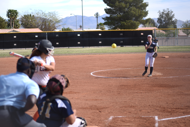 Cheyenne's Kaitlyn Dutton (00) pitches against Chaparrel during their softball game played at Cheyenne's softball field in Las Vegas on Saturday, Mar. 21, 2015. (Martin S. Fuentes/Las Vegas Review ...