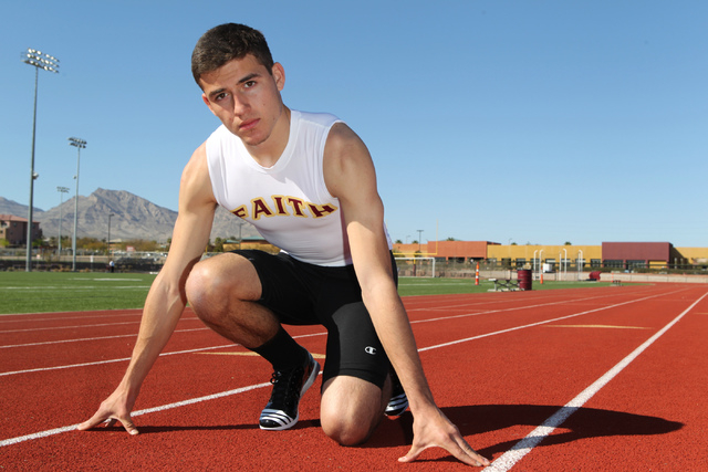 Faith Lutheran runner Mark Rubalcaba, 18, poses for a portrait during a track practice at Faith Lutheran High School in Las Vegas Monday, March 9, 2015. Rubalcaba, the defending state men's 200 me ...