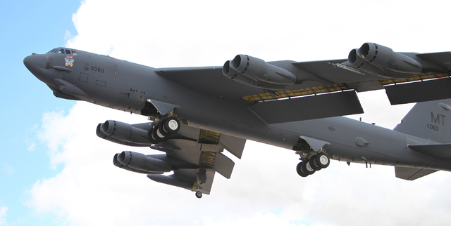 A Minot Air Force Base B-52H aircraft with the 23rd Bomber Squadron takes flight during the Red Flag exercises at Nellis Air Force Base in Las Vegas Tuesday, March 3, 2015. The event was the secon ...