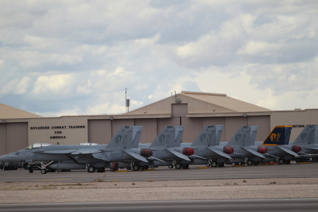 Royal Norwegian Air Force F-16 aircrafts are seen at Nellis Air Force Base in Las Vegas during the Red Flag exercises Tuesday, March 3, 2015. The event was the second Red Flag at Nellis Air Force  ...