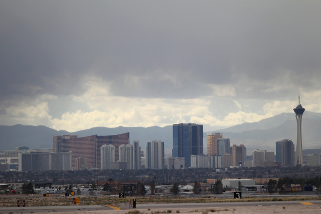 The Strip in Las Vegas is seen from Nellis Air Force Base in Las Vegas during the Red Flag exercises, Tuesday, March 3, 2015. The event was the second Red Flag at Nellis Air Force Base this year.  ...