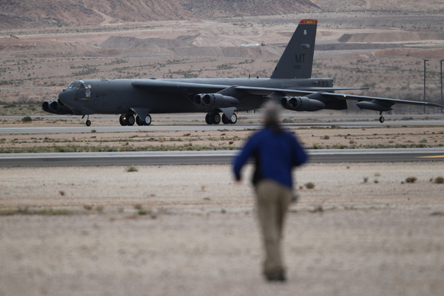 A McConnell Air Force Base KC-135 aircraft with the 344th Air Refueling Squadron gets ready to take flight during the Red Flag exercises at Nellis Air Force Base in Las Vegas Tuesday, March 3, 201 ...
