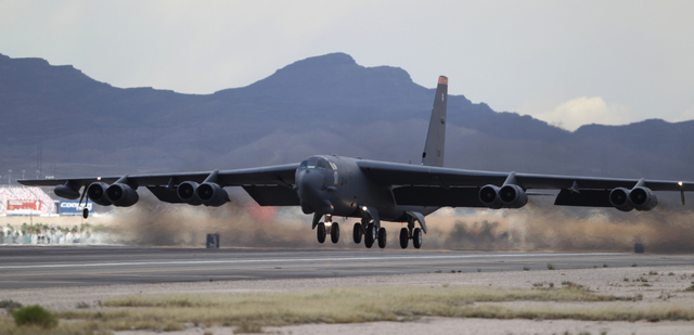A Minot Air Force Base B-52H aircraft with the 23rd Bomber Squadron takes flight during the Red Flag exercises at Nellis Air Force Base in Las Vegas, Tuesday, March 3, 2015. The event was the seco ...
