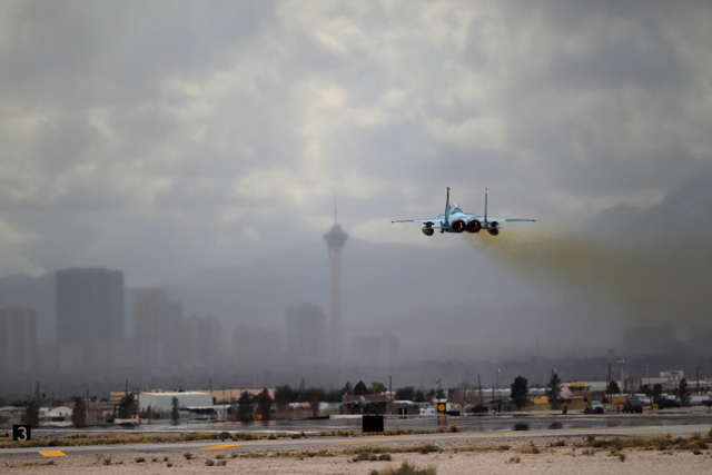 A Nellis Air Force Base F-15C with the 64th Aggressors takes flight during the Red Flag exercises at Nellis Air Force Base in Las Vegas Tuesday, March 3, 2015. The event was the second Red Flag at ...