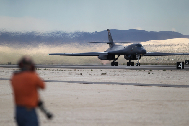 An Ellsworth Air Force Base B-1B Lancer aircraft with the 37th Bomber Squadron returns to the ground during the Red Flag exercises at Nellis Air Force Base in Las Vegas, Tuesday, March 3, 2015. Th ...