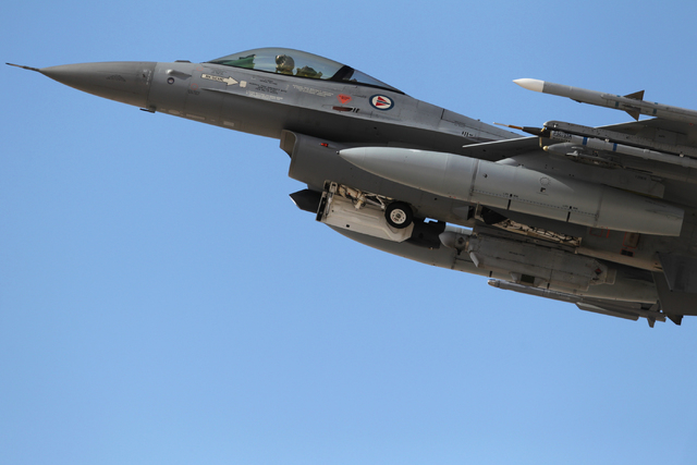 A Royal Norwegian Air Force F-16 takes flight during the Red Flag exercises at Nellis Air Force Base, Tuesday, March 3, 2015. The event was the second Red Flag at Nellis Air Force Base this year.  ...