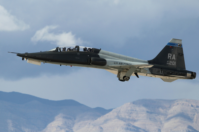 A Randolph Air Force Base T-38C aircraft takes flight during the Red Flag exercises at Nellis Air Force Base in Las Vegas, Tuesday, March 3, 2015. The event was the second Red Flag at Nellis Air F ...