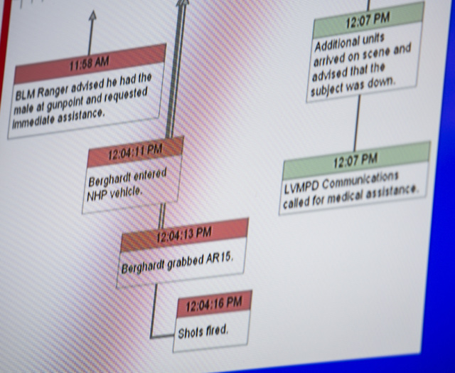 A video screen shot of a timeline during the  Police Fatality Public Fact-finding Review into the February 2014 death of DՁndre Berghardt Jr. on at  the Clark County Government Center Commission  ...