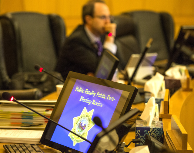 Hearing Officer Chip Siegel during the Police Fatality Public Fact-finding Review into the February 2014 death of DՁndre Berghardt Jr. on at  the Clark County Government Center Commission Chamber ...
