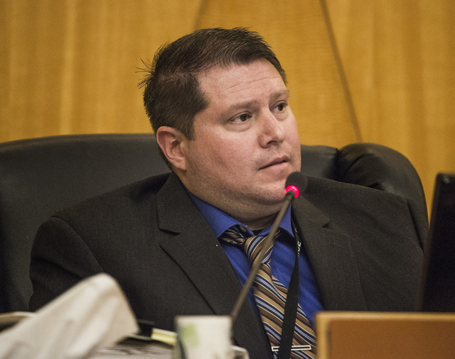 Las Vegas Police Detective Matthew Gillis testifies during the Police Fatality Public Fact-finding Review of DՁndre Berghardt Jr. at  the Clark County Government Center Commission Chambers a ...