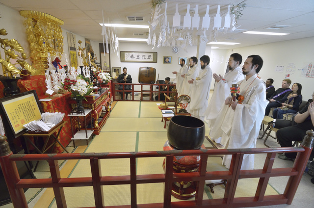 A ceremony welcoming Rev. Douglas Shoda Kanai back from 100 days of ascetic training in Japan is shown at the Nichiren Buddhist Kannon Temple of Nevada at 1600 E. Sahara Ave. in Las Vegas on Sunda ...