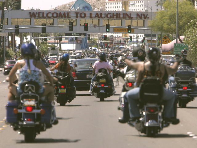 The 33rd annual Laughlin River Run, April 22 to 26, will bring more than 50,000 bikers to the Colorado River town for entertainment, poker runs and competitions. (LAS VEGAS REVIEW-JOURNAL FILE PHOTO)
