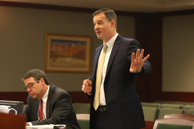 In the court room of Judge Susan W. Scann at the Regional Justice Center, Matthew Christian representing the D.A.'s office argues against the access to public records by the Review-Journal  ...
