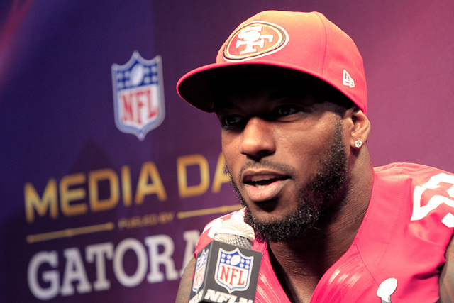 San Francisco 49ers inside linebacker Patrick Willis speaks to journalists during Media Day for the NFL's Super Bowl XLVII in New Orleans, Louisiana January 29, 2013. The 49ers will meet the Balti ...
