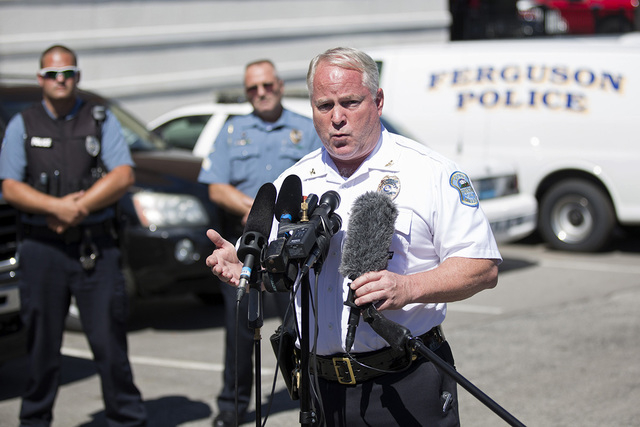 Police Chief Thomas Jackson speaks during a news conference at the police headquarters in Ferguson, Missouri August 13, 2014. The police officer involved in the fatal shooting of an unarmed black  ...