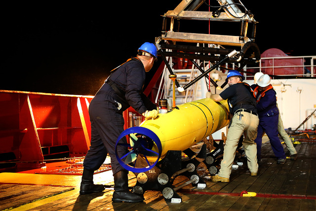 The Phoenix Autonomous Underwater Vehicle (AUV) Artemis being recovered onto Australian Defence Vessel Ocean Shield after completing a mission in the search for the missing Malaysia Airlines Fligh ...