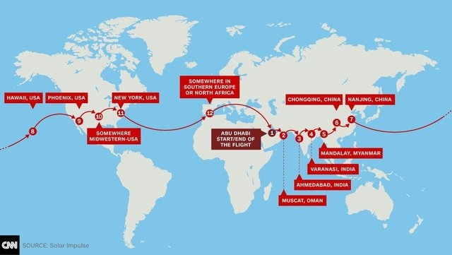 Solar Impulse 2's flight route includes North America and Asia, stopping in Hawaii, Phoenix, New York and an unidentified Midwestern city. (Solar Impulse/CNN)