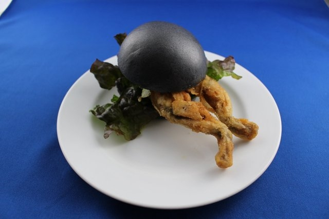 The deep-fried frog will be served in a black bun, colored with bamboo charcoal, and topped with lettuce at a cafe that is part of Orbi Yokohama, a nature-themed amusement park to the south of Tok ...