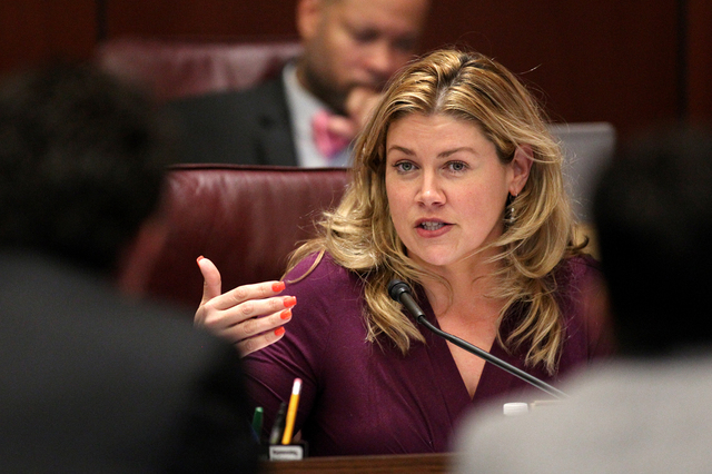Nevada Sen. Patricia Farley, R-Las Vegas, asks questions of state tax officials in a hearing at the Legislative Building in Carson City, Nev., on Thursday, March 19, 2015. (Cathleen Allison/Las Ve ...