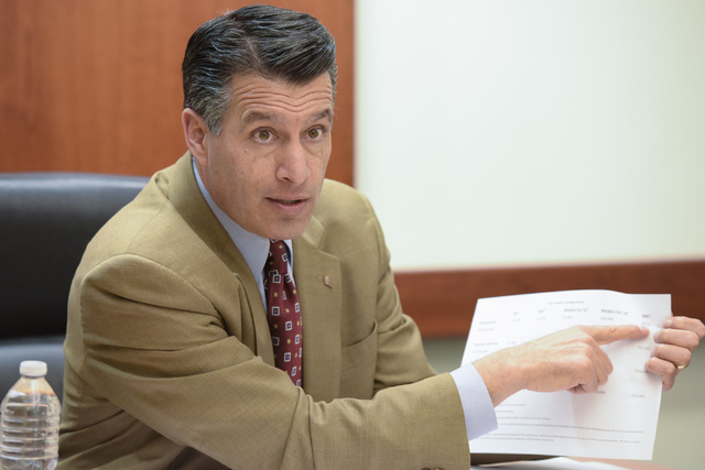 Gov. Brian Sandoval speaks to the Review-Journal editorial board on Friday, Jan. 30, 2015, about his plan to raise taxes to bring in more money for education. (Mark Damon/Las Vegas Review-Journal  ...