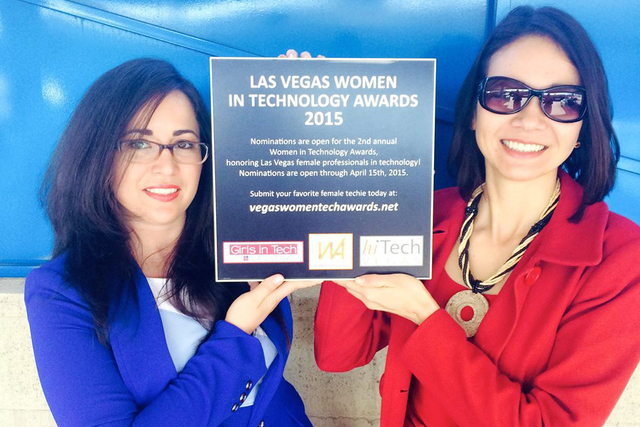Melissa Skipworth and Christina Aldan are shown holding the plaque for the upcoming Las Vegas Women in Technology Awards for 2015. HiTech Vegas, Girls in Tech Las Vegas and Women Advancing worked  ...