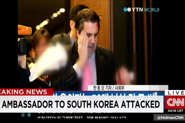 Lippert, 42, was bleeding from a facial wound but was walking after the attack as he was taken to the hospital, the witness and news reports said. (Screengrab, CNN)