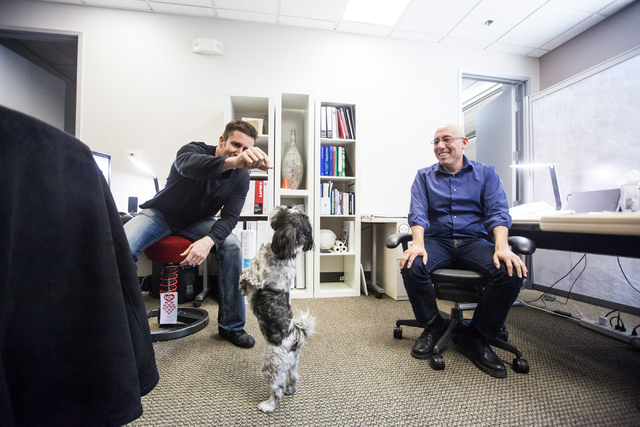 Kurt Walden, job captain, left, gives a treat to Pepper, a 7-year-old Shih Tzu owned by Ed Vance, as Tim Hollenbeck, project manager, looks on at architecture firm Ed Vance & Associates Architects ...